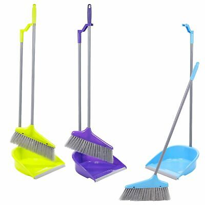 Home Lobby Upright Handle Dustpan And Brush Set Broom Sweep Clean Clip Handle