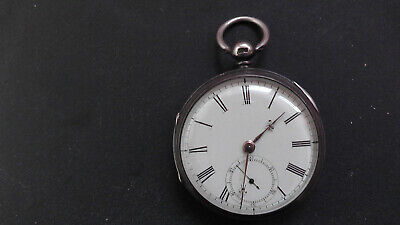 Chester silver 1875 fusee pocket watch working + key