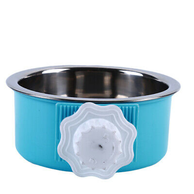 Pet Feeding Fixed Bowl Stainless Steel Cage Food Water Feeder Dog Cat Rabbit CB