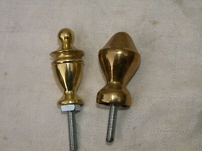 2 RECLAIMED BRONZE or BRASS CLOCK FINIALS WITH NUTS & THREADS
