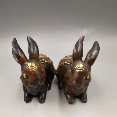 A Pair Chinese Antique Old copper hand-made gold-plated rabbit Home decoration