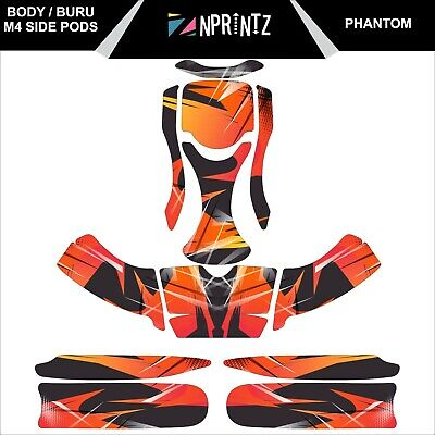 Buru /M4 Sidepods Phantom Full Kart Sticker Kit Ren F1 Style - Karting -