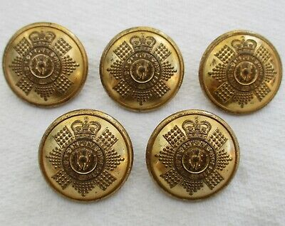 """5x Army:""""SCOTS GUARDS OFFICER'S GILDED BRASS BUTTONS"""" (Large, 25mm, Worn, 1950s)"""