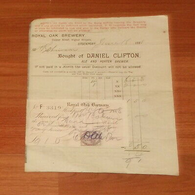 1888 Royal Oak Brewery..stockport..sales Invoice.