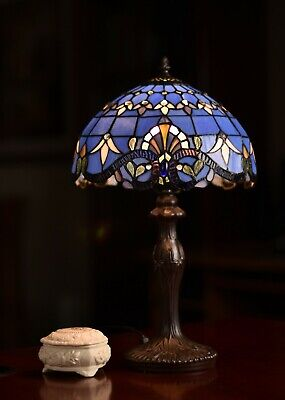 """Amazing 20"""" Height Blue Baroque Style Stained glass Tiffany Bedside Table Lamp"""