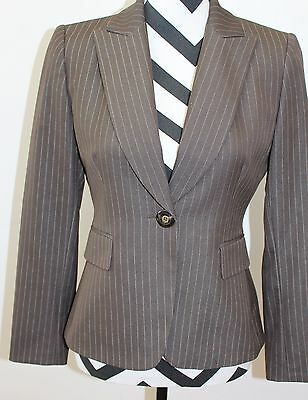 f5b6d960d21a5 MS&CO TAHARI ARTHUR Levine Brown White Striped Button Lined Women's ...