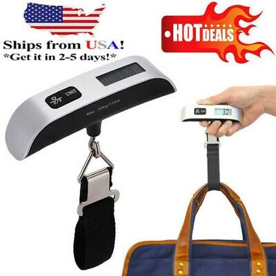Portable LCD Digital Travel Luggage Scale Hook Hanging Weight 110lb/50kg