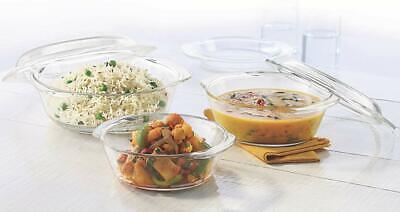 Glass Casserole with Lid Set by Borosil, 3 Pieces, Transparent