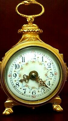 Antique French Brass Gilt ORMOLU Mantel Clock Pendule D'officer Louis C.1900