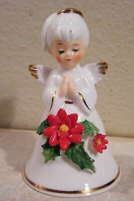 "1 VINTAGE Bone China Christmas Angel Bell 3"" Tall  NAPCOWARE"
