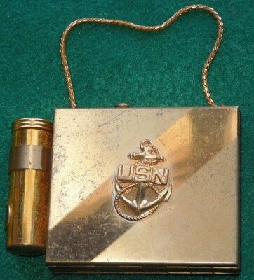 WWII US Navy Cigarette Case Makeup Compact USN Sweetheart Home Front
