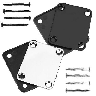 Fender Chrome Strat Tele Neck Joint Plate w/ 4 Screws For Electric Guitar Bass