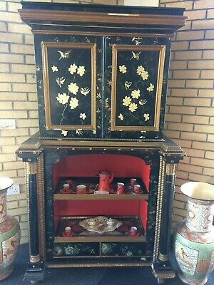 Antique 19thc Chinese Lacquered Cabinet Needs Some Repair