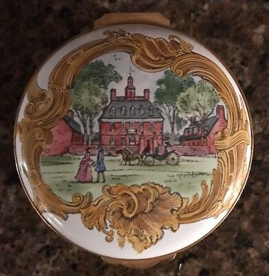 Crummles & Co England Enamel  Porcelain Hinged Trinket Box Colonial Williamsburg