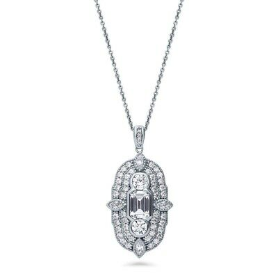 vintage style Silver Cubic Zirconia CZ Art Deco Drop Dangle Pendant Necklace