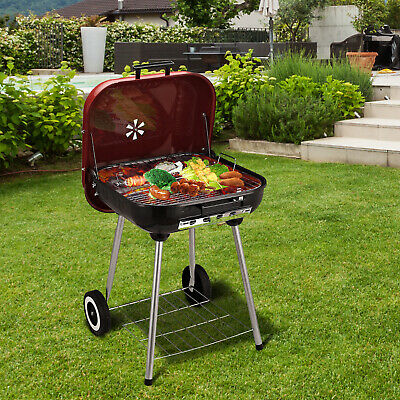 Charcoal Trolley BBQ Garden Outdoor Barbecue Cooking Grill Powder Wheel New Red