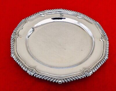 """Antique Victorian CRESTED 10"""" Silver Plated Salver Tray MAPPIN BROTHERS C1860"""