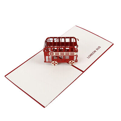 3D Carving Handmade London Red Double Deck Bus Paper Crafts Greeting Cards L