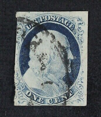 CKStamps: US Stamps Collection Scott#9 1c Franklin Used Tiny Thin CV$95