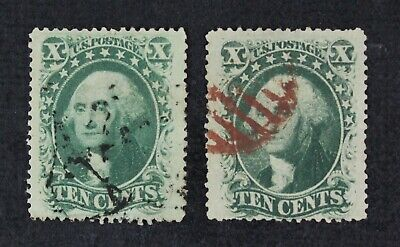 CKStamps: US Stamps Collection Scott#35 (2) 10c Washington Used 1 Tiny Tear