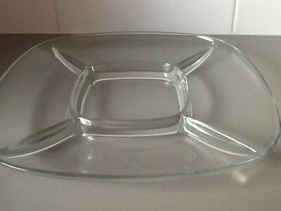 Clear glass snack serving dish 30cm square