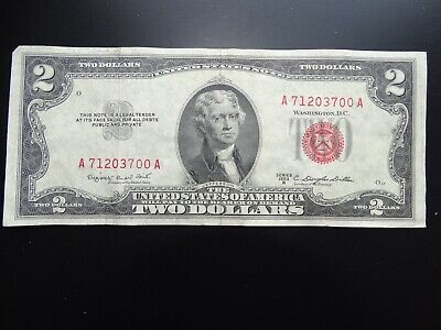 A 1953B $2 Two Dollar Bill United States Legal Tender Red Seal Note