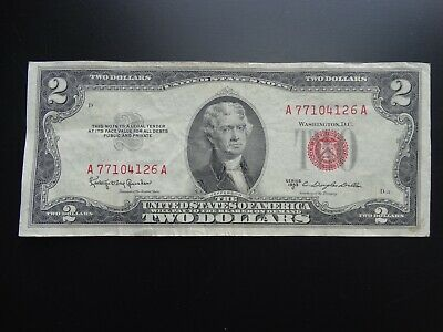 A 1953 Series C $2 Two Dollar Bill United States Legal Tender Red Seal Note