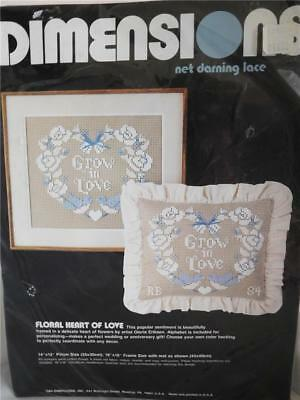 "Dimensions~Floral Heart Of Love~Net Darning Lace Kit~Pillow or Frame~14""X12""~NIP"