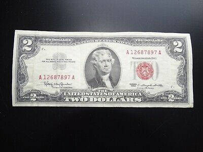 A 1963 $2 Two Dollar Bill United States Legal Tender Red Seal Note