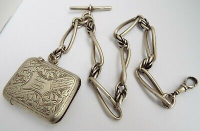 SUPERB HEAVY 80g ENGLISH ANTIQUE 1892 STERLING SILVER FANCY LINK ALBERT CHAIN