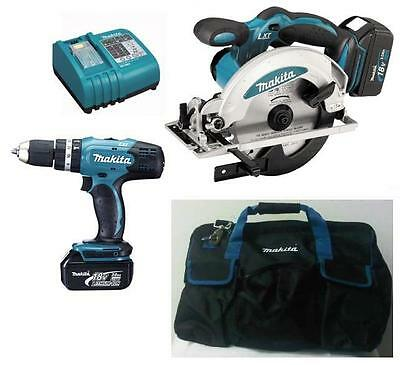 Makita 18v BSS610 Circular Saw + BHP453 Combi Drill + Makita Bag