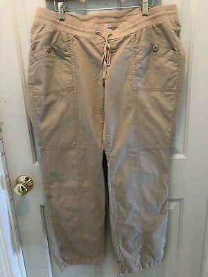 02da9e2be6c59 Ladies Old Navy Maternity Stretch Khaki Pants L Large Low Rise Roll Up Crop