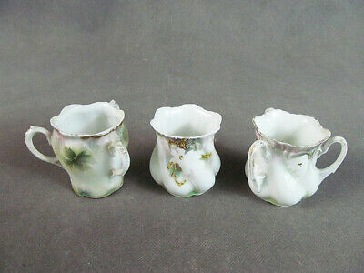 """R.S. PRUSSIA 3 TOOTHPICK HOLDERS~~""""Surreal Dogwood"""" Pattern"""