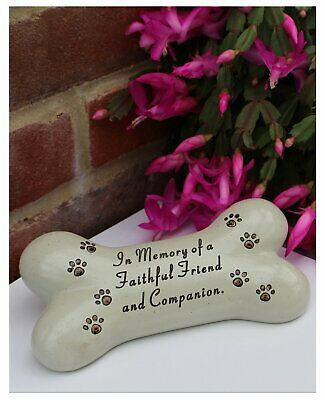 Dog memorial plaque in the shape of a bone - Faithful friend and Companion