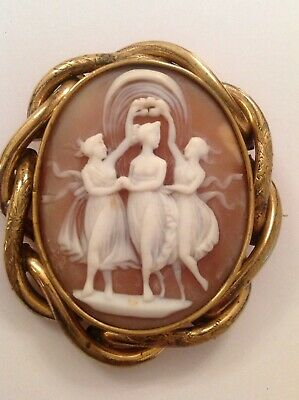 Antique Victorian Gold Plated Carved Shell Cameo - Three Graces  - Circa 1880