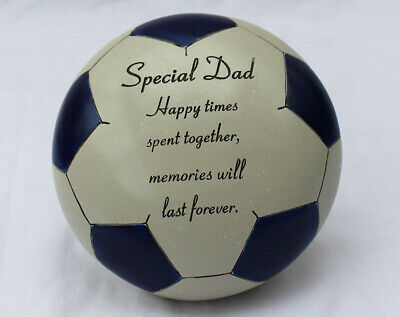 Free standing Blue special Dad football memorial plaque with inspirational verse