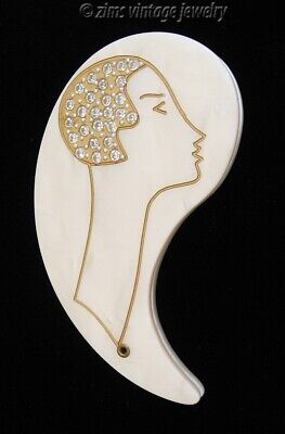 Vintage Lucite rhinestone Art Deco LADY Gold enamel Compact swivel MIRROR purse
