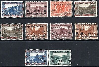 Bosnia Shs - Landscapes - Lot Of Stamps With Shifted Overprints - Mint / Used