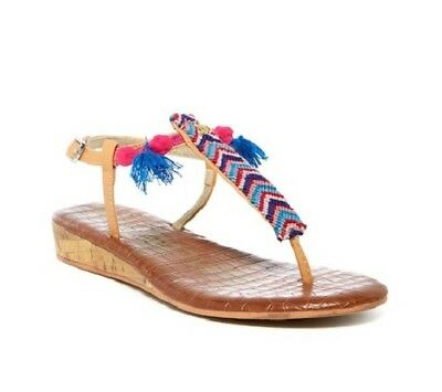 23b47f68c Sam Edelman Girls Sandals Danica Sienna Thong Wedge Summer Shoes Fringe  Boho NEW