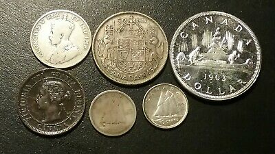 6 Mixed Canada Coins Lot. 1911 25 Cents,1945 50 Cents ,1963 Dollar And More