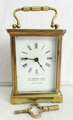 "SUPERB ANTIQUE FRENCH BRASS CARRIAGE CLOCK ""Wm Bruford &Son""+ KEY 8day WORKING"