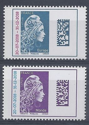2018 - MARIANNE l'ENGAGEE EUROPE et MONDE - TIMBRES SURCHARGES - NEUFS** LUXE