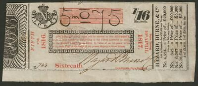 GB 1816 State Lottery Ticket One Sixteenth Hazard Burne & Co security mark