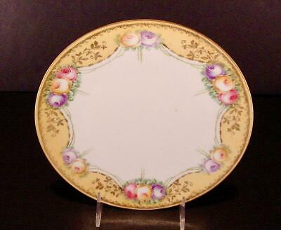 """Beautiful R.s. Germany Porcelain Plate With Roses Gold Swag 8 1/2"""""""