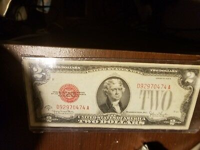 1928 Two Dollar Bill Red Stamp