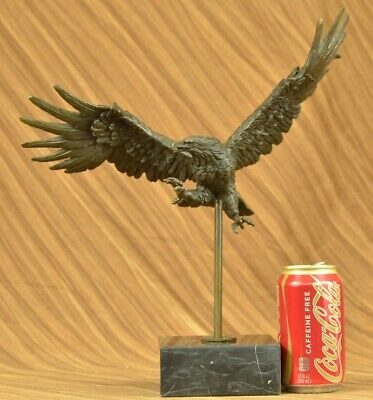 Flying High American Eagle Bronze Sculpture by Milo Bird Art Deco Statue Decor