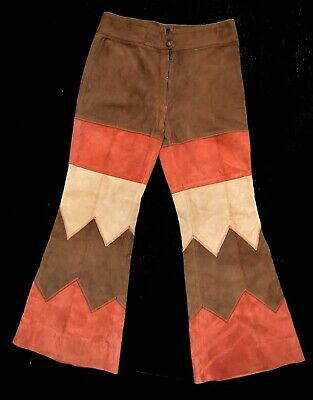 Incredible Original Vintage Chevron Suede Bell Bottoms Flares Flared Trousers