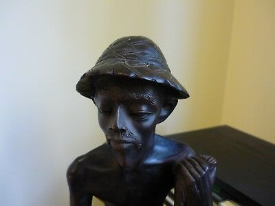 EXCEPTIONAL CARVING - AFRICAN FISHERMAN hardwood - Reduced sale $75.00 to $25.00