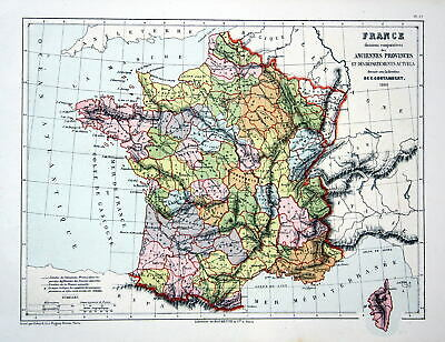 FRANCE FRANKREICH PARIS Weltkarte Karte world map Lithographie ...