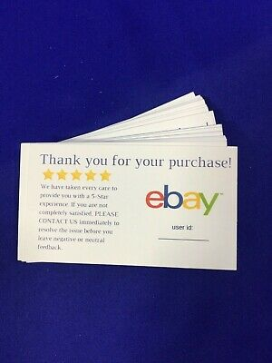 50 ebay Seller THANK YOU Business Cards 5 Five Star Feedback